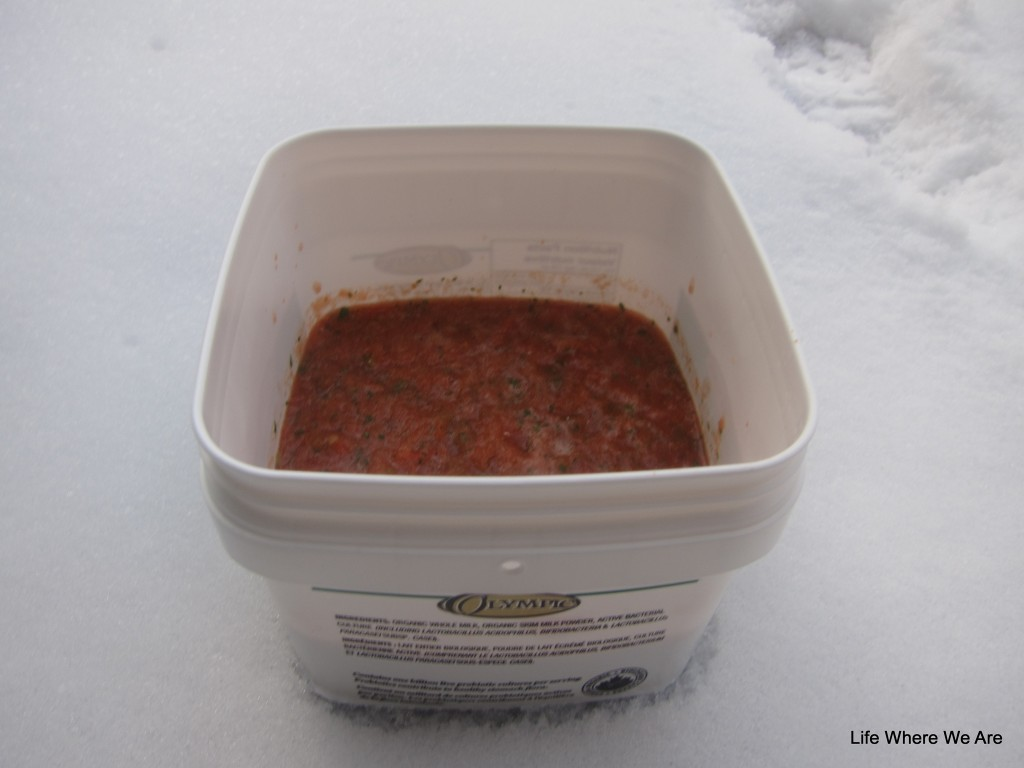 Abuelita's Salsa cooling in the snow.