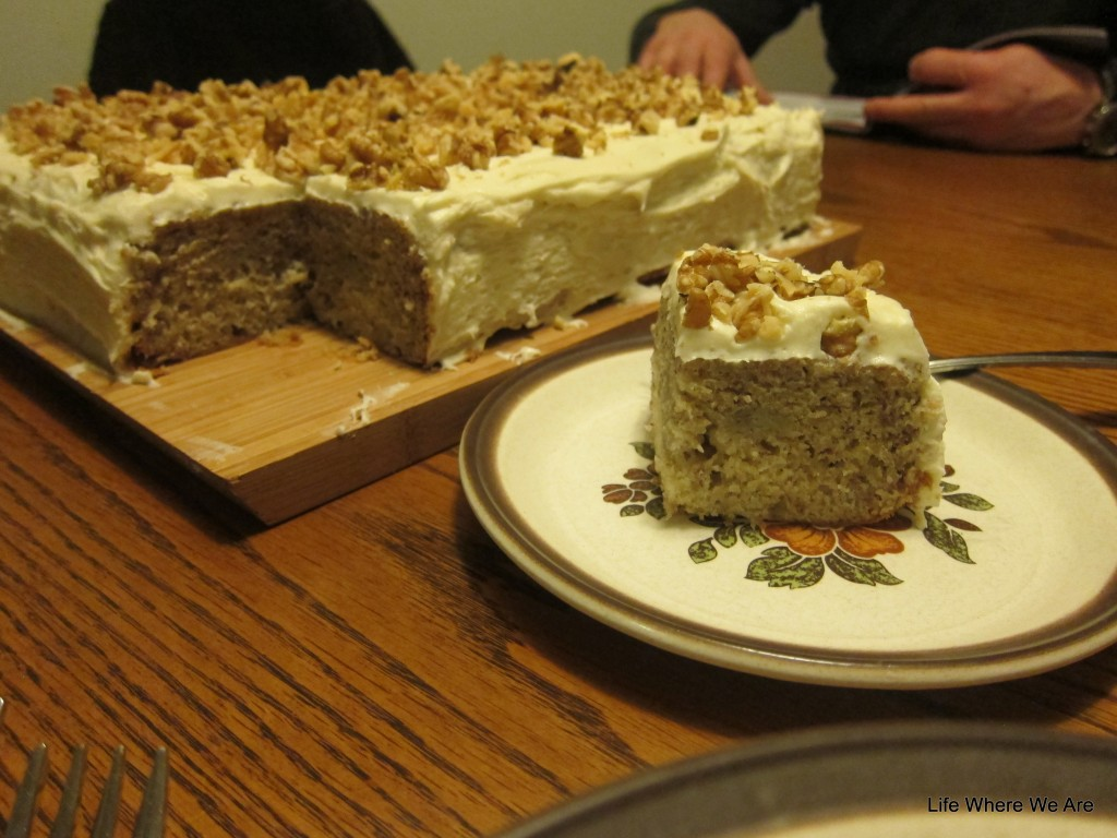 Banana Cake with Cream Cheese Icing and Walnuts