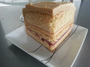 A quarter section of Peanut Butter and Jelly Cake to take to a playdate.