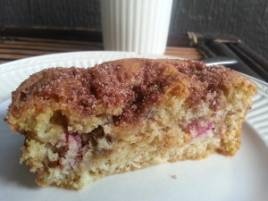 A slice of Rhubarb Cake with Cinnamon Sugar Topping.