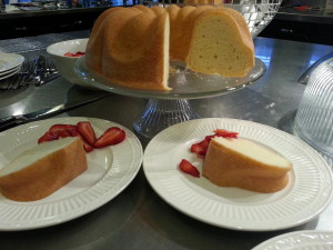 A perfect pound cake served with fresh strawberries!