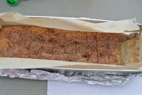 Rhubarb Cake in a loaf pan - perfect for a picnic!