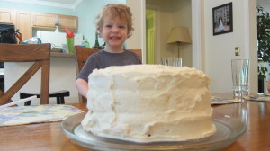 Max loves cake! He wanted to dip his finger in the Browned Butter Frosting but I held him off until I took pictues.