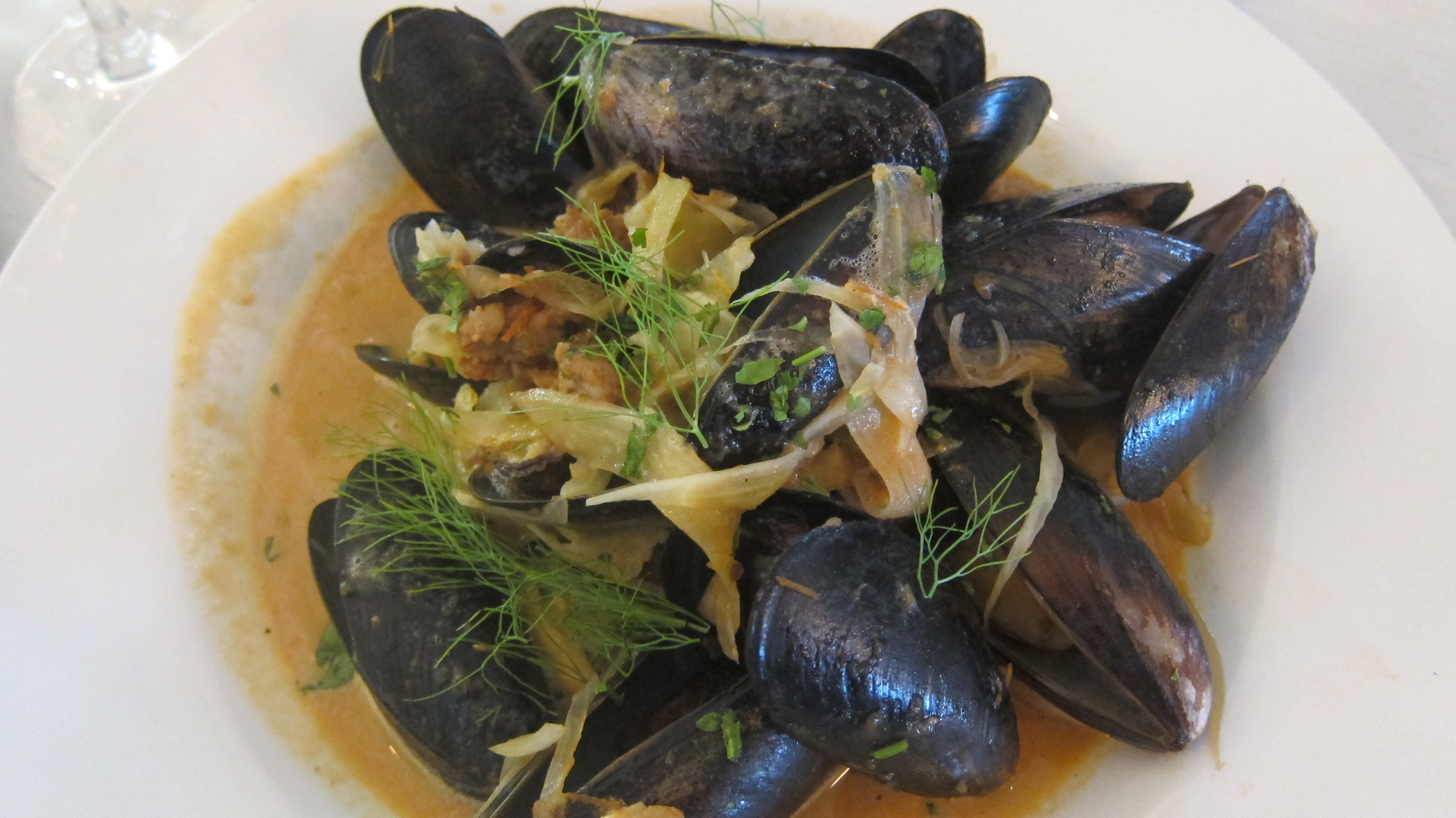 MUSSELS & SAUSAGE - Tomato Jam, Veal Jus, Pork Sausage, Garlic Confit.