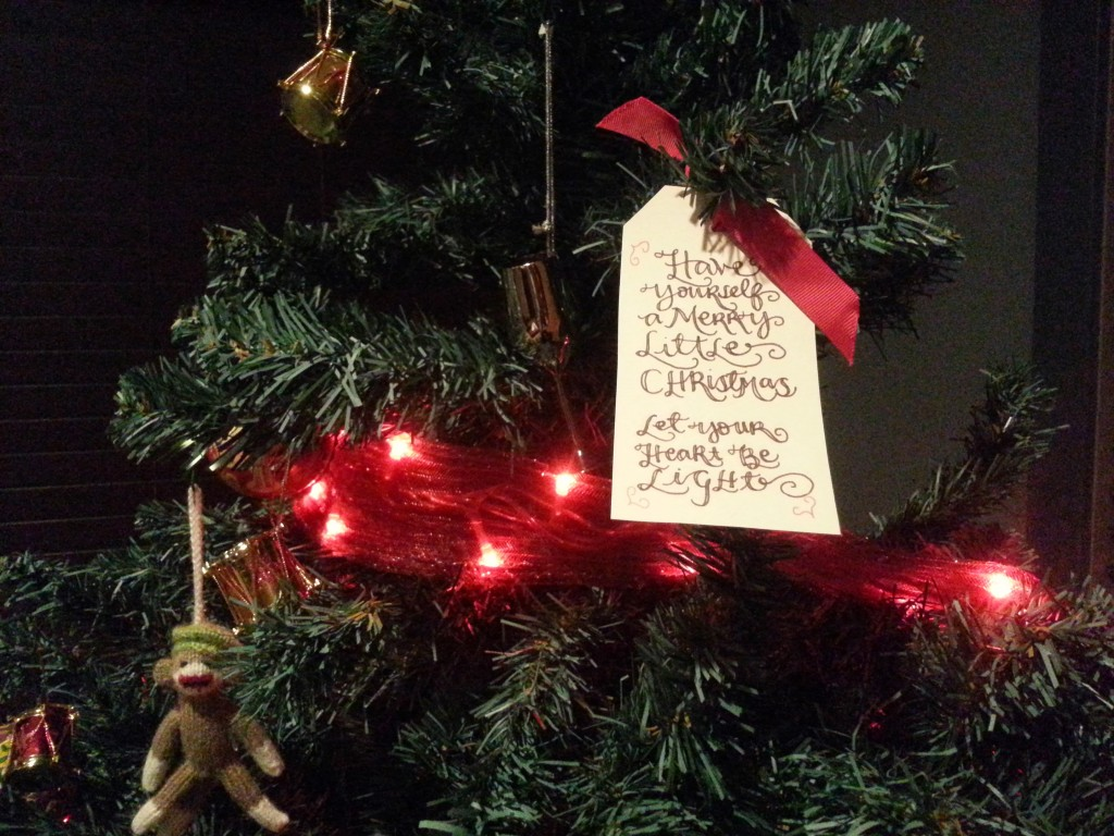 A hand-written gift tag from a friend turned into one of my favorite Christmas Tree decorations.