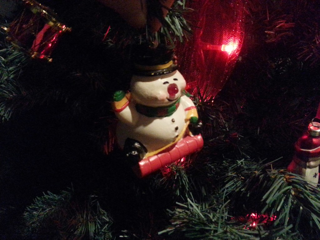Jolly Snowman ornament from Value Village.