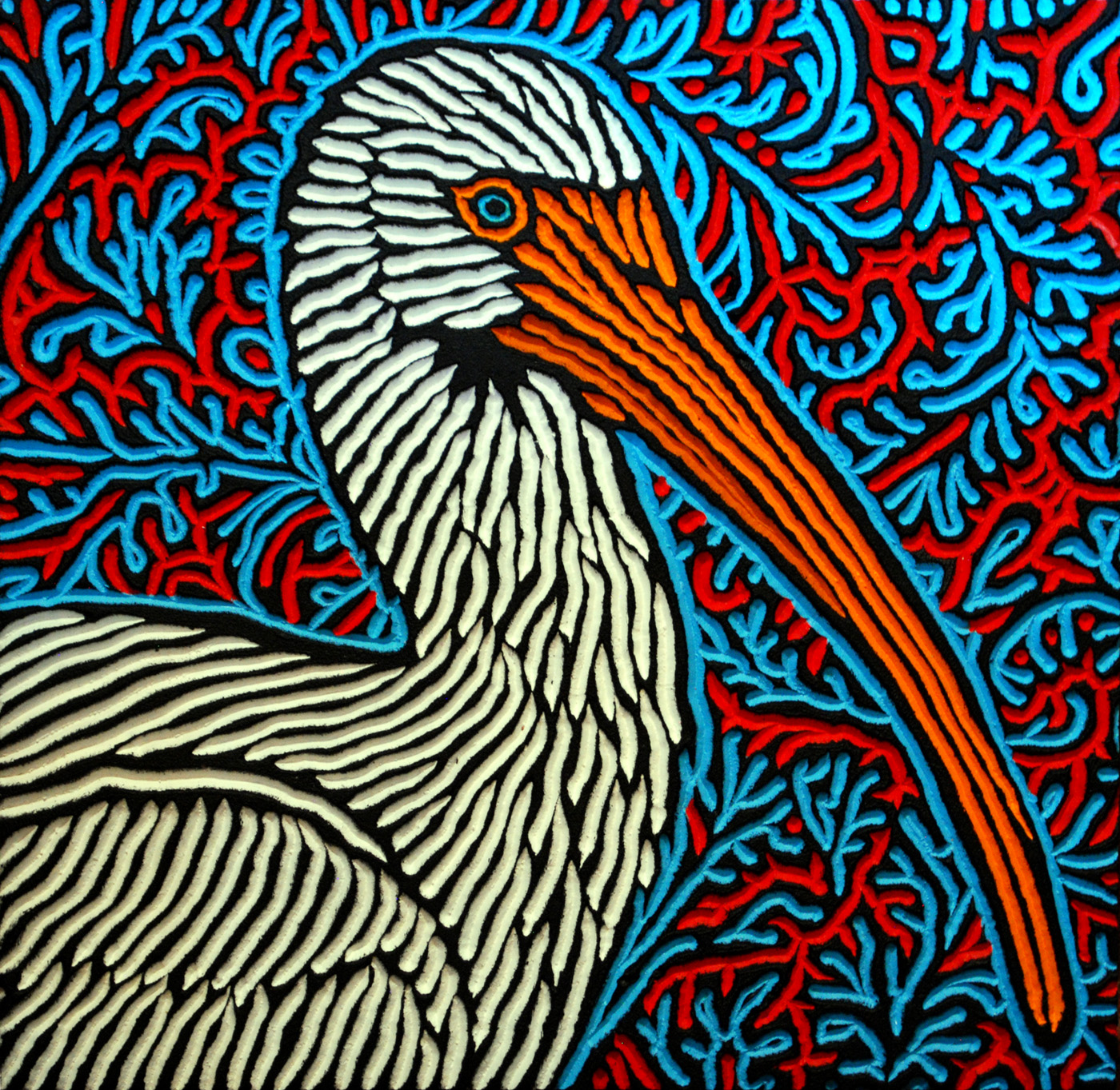 Lisa Brawn's wild bird woodcuts are so detailed and realistic and then set against a crazy beautiful background of colour and design--I love them!