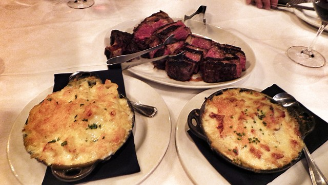 Steak and sides at Vintage--Classic and perfectly prepared...delicious!