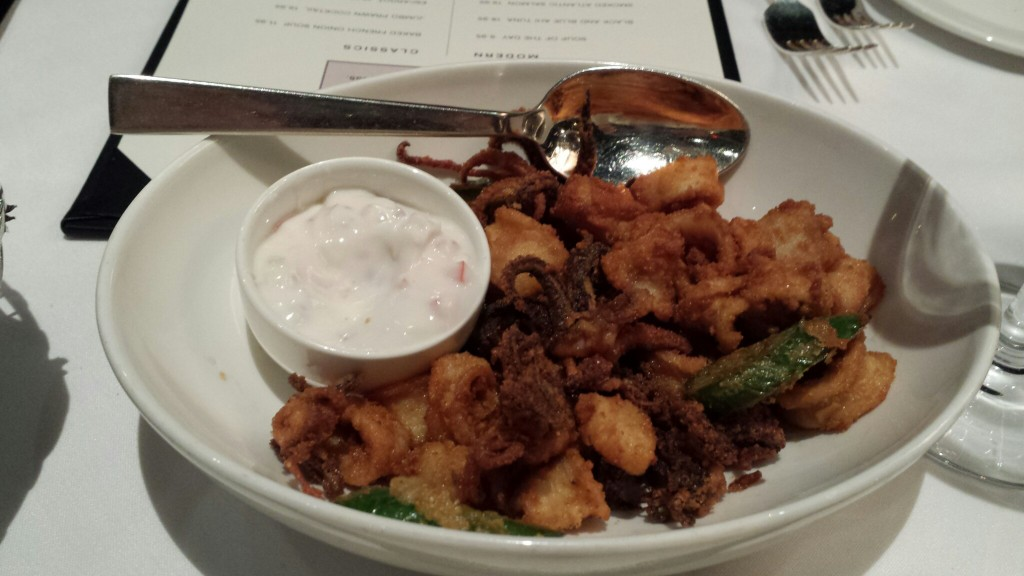 Calamari fried with jalapeno, an off-the-menu item sometimes available at Hy's Steakhouse.