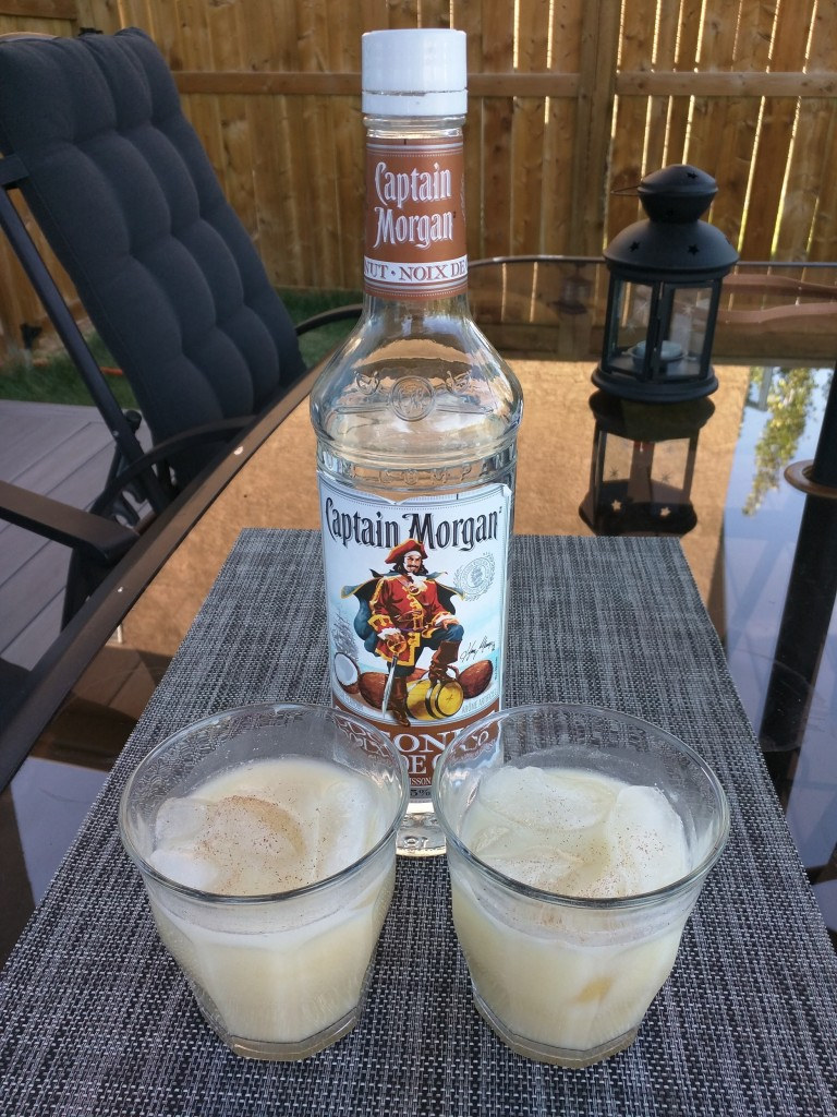 Painkillers made with Captain Morgan Coconut Rum. The scent of freshly grated nutmeg takes this refreshing drink over the top.
