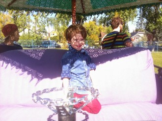 Max spent a lot of time in the big, purple, fire-breathing hippo at Circle The Wagons.