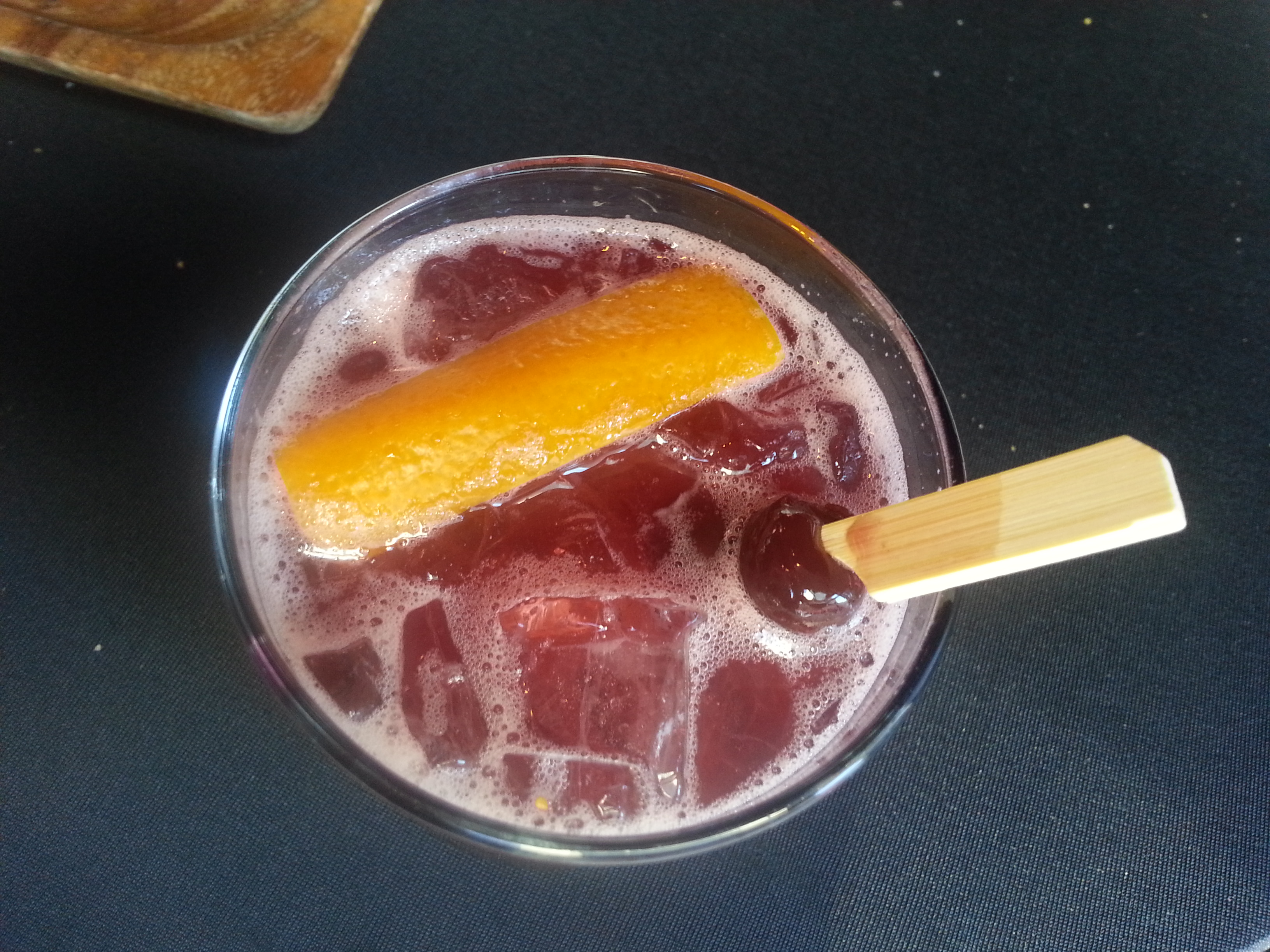The new bar menu at Charcut is stacked with whimsical drinks that will win you over.  This one is The Cobbler and it is a perfect summer drink.